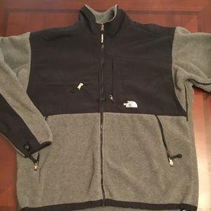 men's black & gray fleece NORTH FACE jacket/ XXL